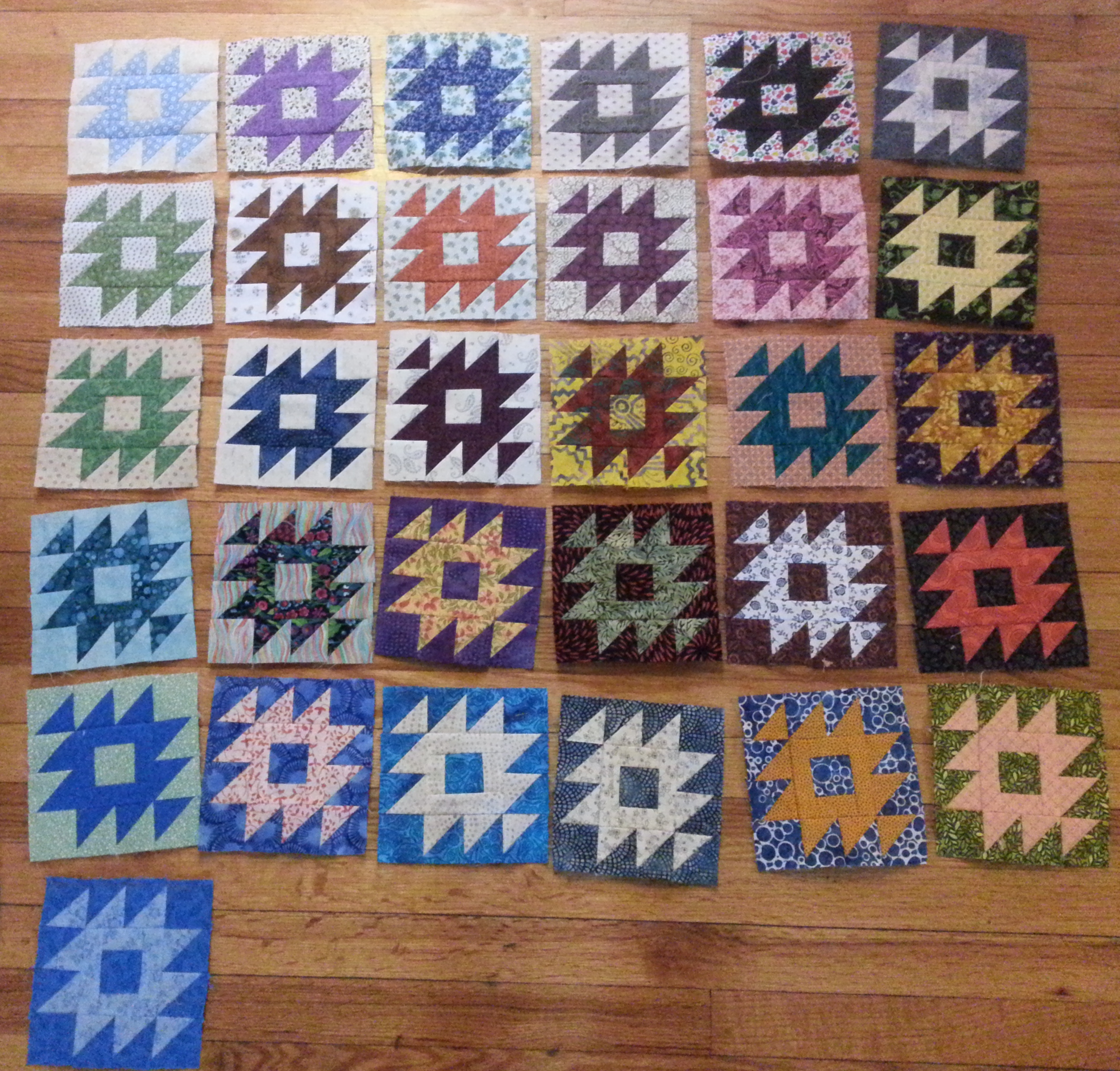 quilt blocks on floor